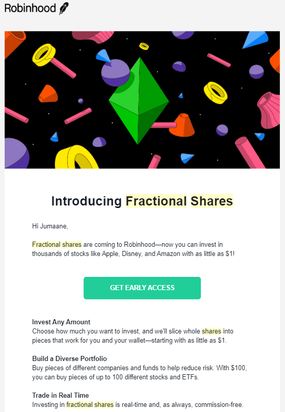 Robinhood gain early access to Fractional Shares email