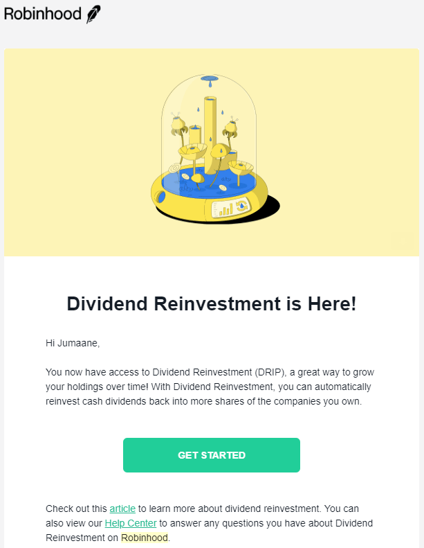 dividend reinvestment email