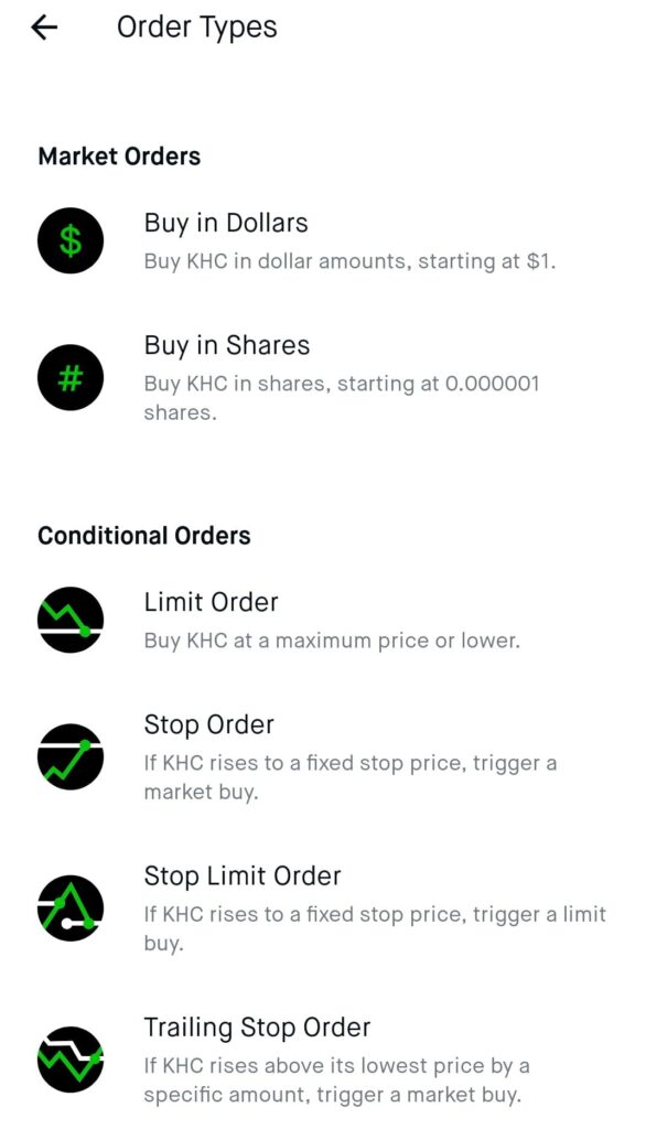 Robinhood Market Order Types and Conditions