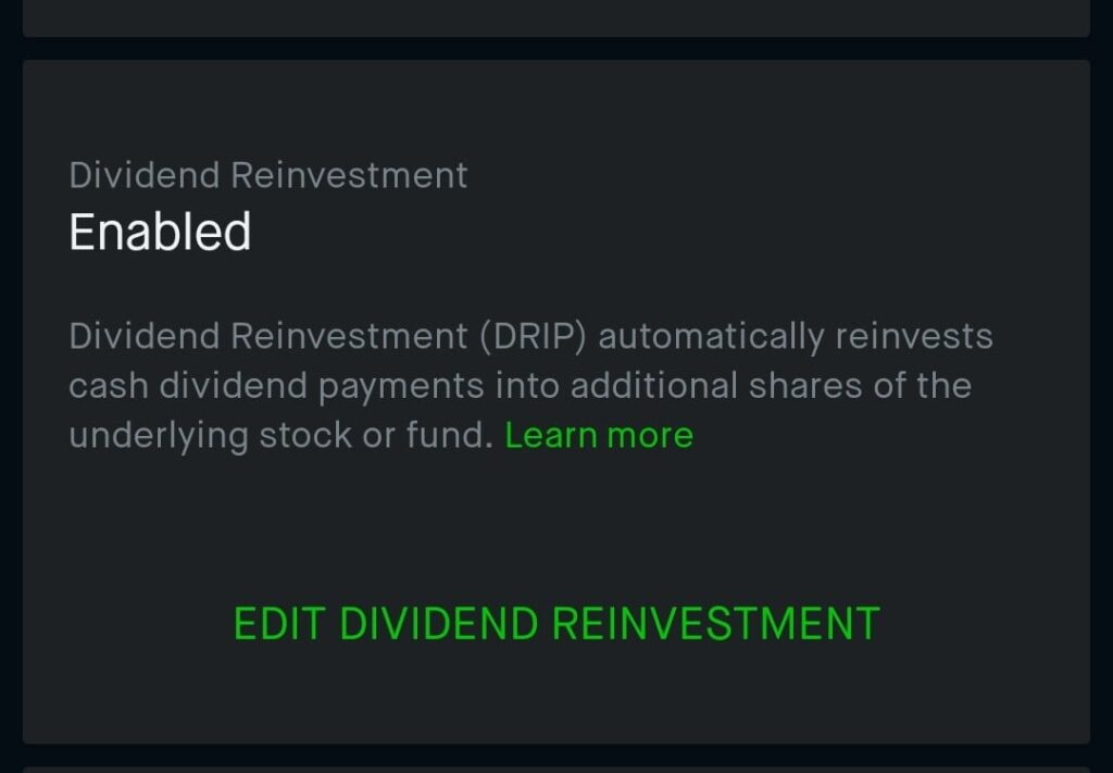 Enable Robinhood dividend reinvestment Plan